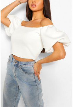 Ivory Scuba Off The Shoulder Top