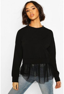 Black Dobby Mesh Ruffle Hem Sweat