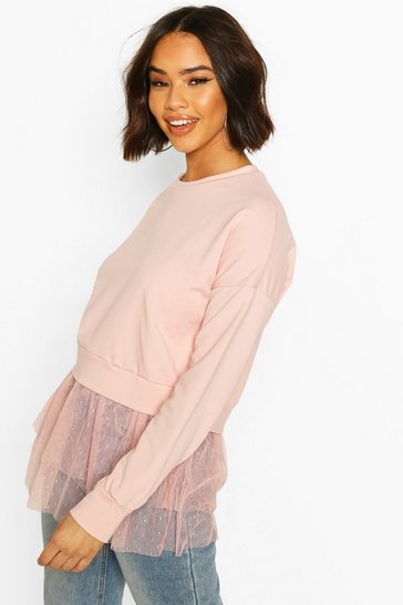 Rose Dobby Mesh Ruffle Hem Sweat