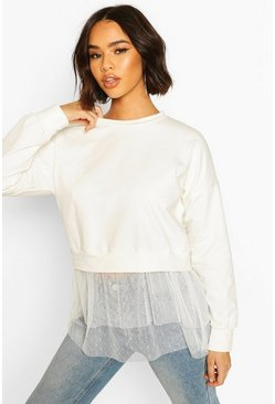 White Dobby Mesh Ruffle Hem Sweat