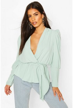 Sage Puff Sleeve Wrap Blouse