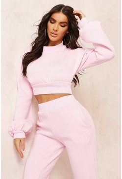 Rose Mix & Match High Neck Deep Waist Crop Sweater
