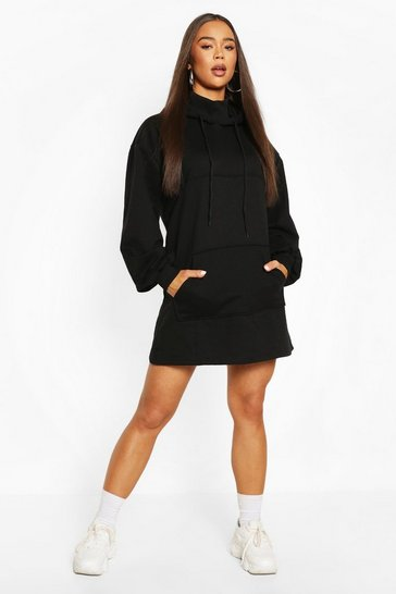 Black Mix & Match High Neck Hoody Dress
