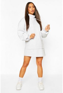Grey marl Mix & Match High Neck Hoody Dress