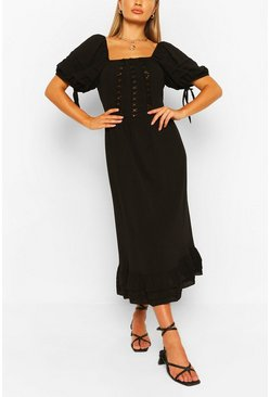 Black Lace Panel Ruffle Hem Midaxi Dress