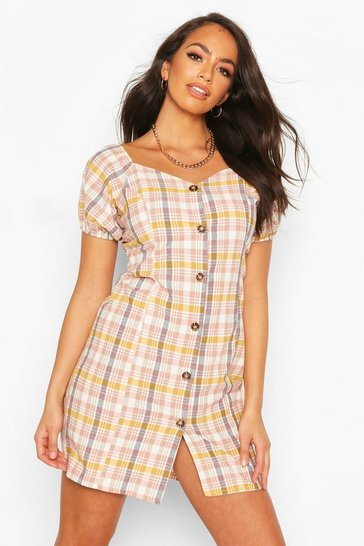 Blush Linen Look Checked Puff Sleeve Mini Dress
