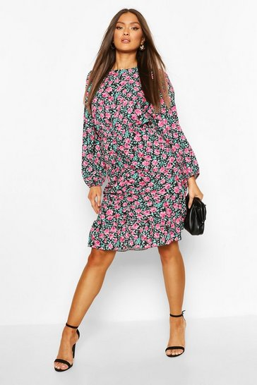 Black Floral Balloon Sleeve Ruched Front Mini Dress