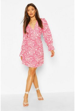 Red Paisley Print Open Back Ruffle Mini Dress