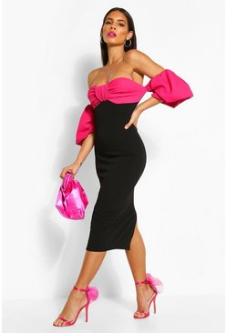 Black Bardot Puff Sleeve Midi Dress