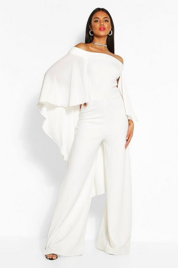 Ivory Off The Shoulder Wide Leg Extreme Cape Jumpsuit