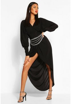 Black Wrap Extreme Puff Sleeve Maxi Dress