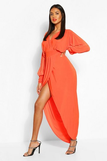 Orange Wrap Extreme Puff Sleeve Maxi Dress
