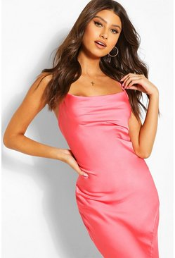 Coral Cowl Neck Maxi Slip Dress