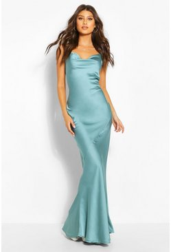 Mint Cowl Neck Maxi Slip Dress