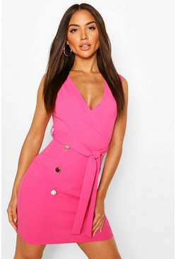 Hot pink Sleeveless Belted Blazer Dress