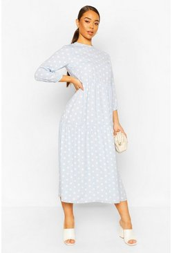 Pastel blue Polka Dot Midi Dress