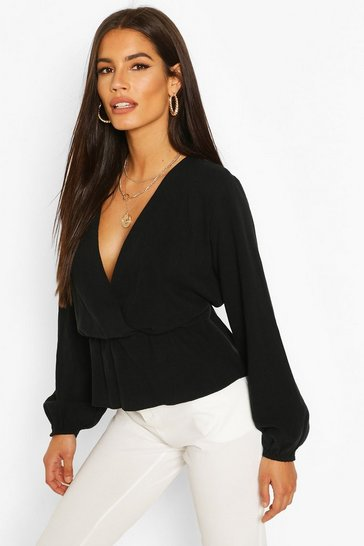 Black Linen Mix Peplum Hem Blouse