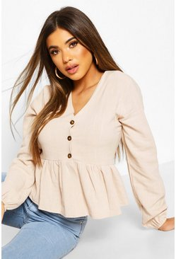 Stone Linen Mix Button Down Frill Blouse
