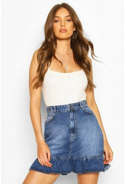 Blue Denim Ruffle Hem Mini Skirt