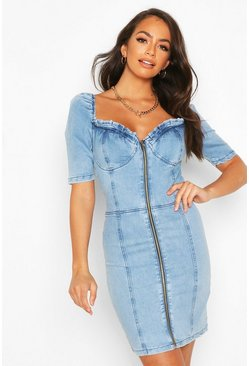 Blue Denim Ruffle Detail Puff Sleeve Dress