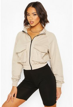Cream Pocket Detail Zip Through Bomber