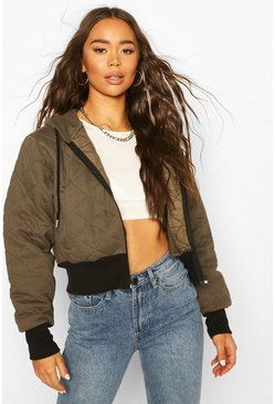 Khaki Quilted Hooded Bomber Jacket