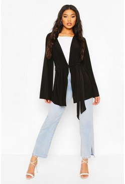 Black Wide Sleeve Belted Kimono