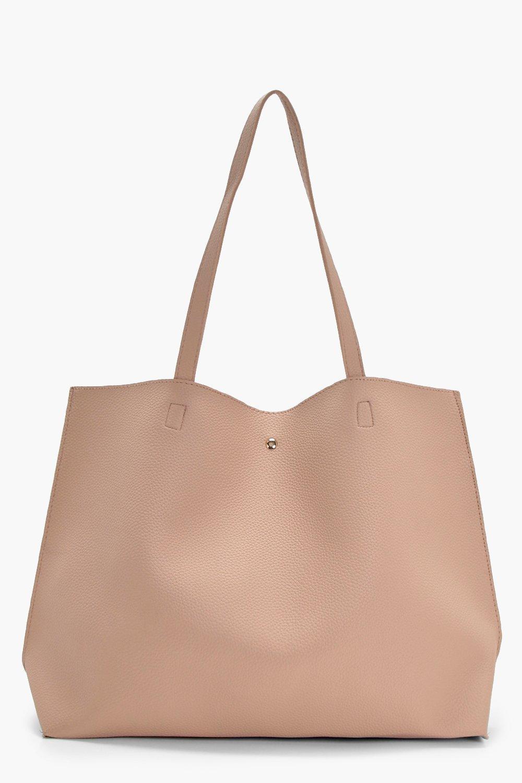 womens large popper tote shopper bag - beige - one size