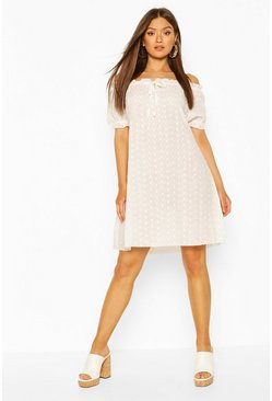 White Broderie Ruffle Detail Mini Dress