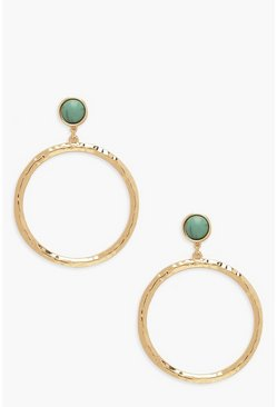 Gold Stone & Ring Detail Statement Earrings