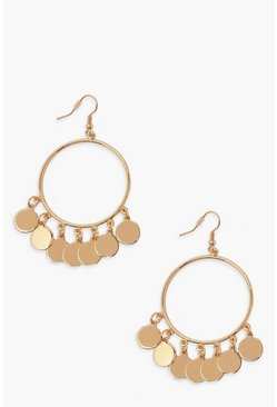Gold Coin Detail Statement Earrings