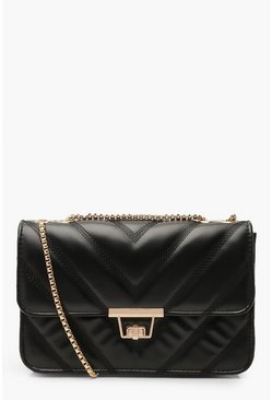 Black PU Chevron Cross Body Bag