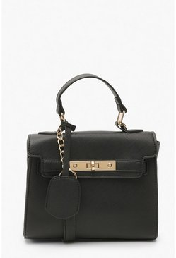 Black Structured Mini Lock Crossbody Bag