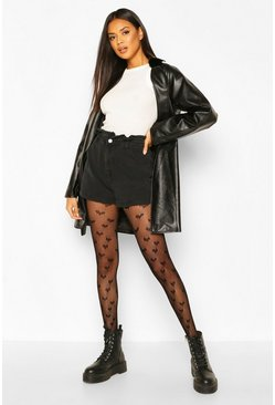 Black Heart Fishnet Tights