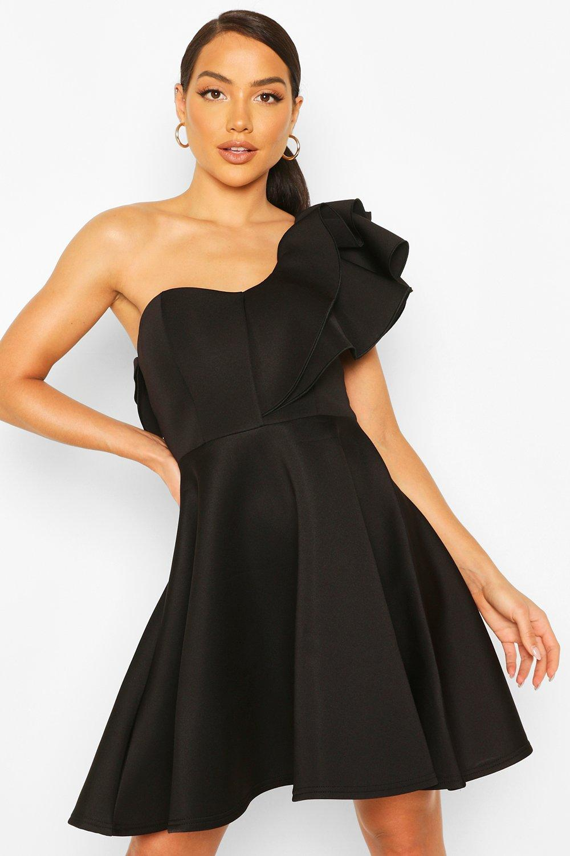 80s Prom Dresses – Party, Cocktail, Bridesmaid, Formal Womens Double Ruffle One Shoulder Skater Dress - Black - 14 $8.00 AT vintagedancer.com