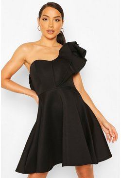 Black Double Ruffle One Shoulder Skater Dress