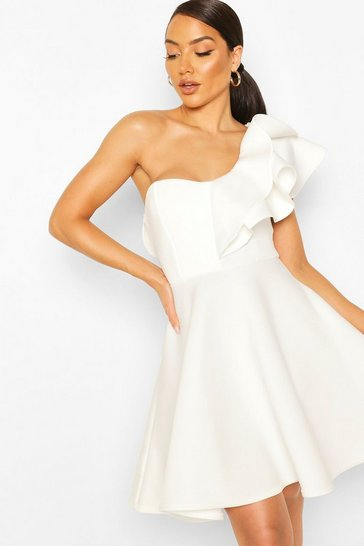 White Double Ruffle One Shoulder Skater Dress