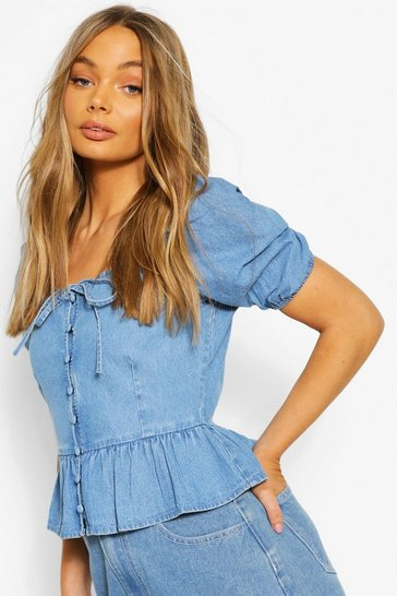 Mid blue Button Front Frill Denim Top