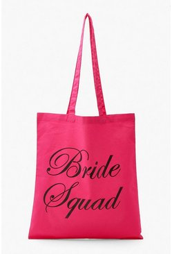 Pink Bride Squad Tote Bag