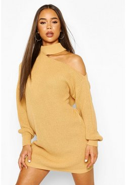 Camel Cut Out Knitted Dress