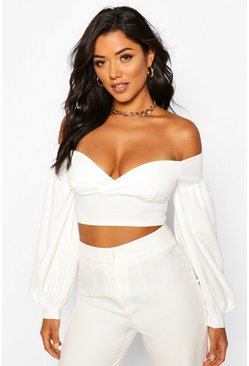 Ivory Off The Shoulder Sweetheart Crop Top
