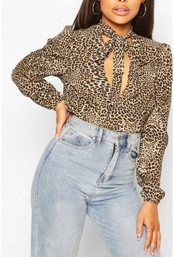 Brown Leopard Print Pussy Bow V Neck Blouse Body