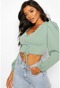 Mint Corset Detail Ruffle Long Sleeve Top