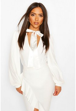 White Satin Neck Tie Plunge Bodysuit
