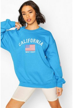 Teal California Slogan Oversized Sweat