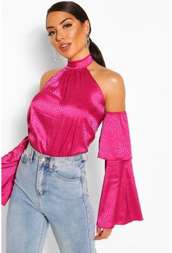 Hot pink Hammered Satin Flare Sleeve Woven Top