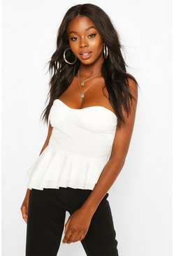 Ivory Crepe Cup Detail Peplum Top