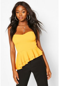 Yellow Crepe Cup Detail Peplum Top