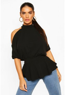 Black Crepe Cold Shoulder Peplum Top