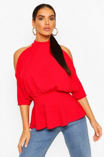 Red Crepe Cold Shoulder Peplum Top